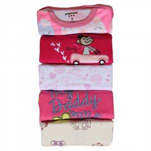 خرید آنلاین بادی آستین بلند نوزادی دخترانه | پک 5 تایی بادی دخترانه کارترز 2017 با قیمت مناسب