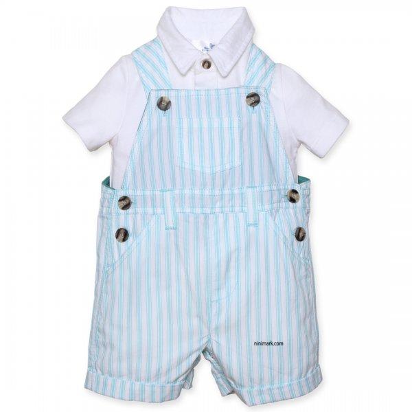 لباس پیش بندی بچگانه پسرانه   به همراه تی شرت یقه دار فوق العاده راحت و خاص