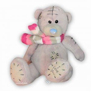 عروسک خرس شال گردن پوش شیری-صورتی