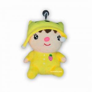 عروسک صدادار آویز نی نی کلاه دار توت فرنگی زرد