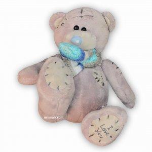 عروسک خرس شال گردن پوش شیری-آبی