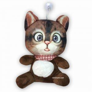 عروسک آویز گربه کارتونی قهوه ای تیره